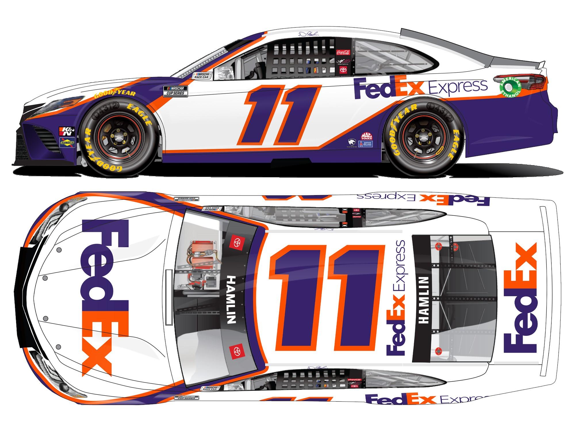 Denny Hamlin 2021 FedEx Express 1:24 Color Chrome Nascar ...