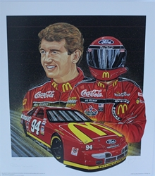 "Autographed Bill Elliott 1995 ""Red Hot"" Artist Proof Sam Bass Print 27.5"" X 24.5 W/ COA Autographed Bill Elliott 1995 ""Red Hot"" Artist Proof Sam Bass Print 27.5"" X 24.5 W/ COA"