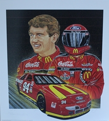 "Autographed Bill Elliott 1995 ""Red Hot"" Numbered Sam Bass Print 27.5"" X 24.5 W/ COA Autographed Bill Elliott 1995 ""Red Hot"" Numbered Sam Bass Print 27.5"" X 24.5 W/ COA"