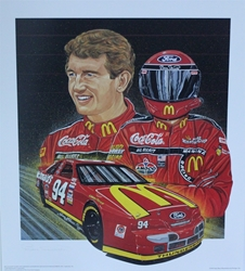 "Autographed Bill Elliott 1995 ""Red Hot"" Sam Bass Print 27.5"" X 24.5 W/ COA Autographed Bill Elliott 1995 ""Red Hot"" Sam Bass Print 27.5"" X 24.5 W/ COA"