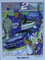 "Autographed Brad Keselowski ""We Did It!"" Artist Proof Sam Bass 24"" X 18"" Print w/ COA Sam Bass, Brad Keselowski, Miller Lite, Monster Energy Cup Series, Winston Cup, Poster,Autographed Brad Keselowski ""We Did It!"" Artist Proof Sam Bass 24"" X 18"" Print w/ COA"