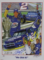 "Autographed Brad Keselowski ""We Did It!"" Numbered Sam Bass 24"" X 18"" Print w/ COA Sam Bass, Brad Keselowski, Miller Lite, Monster Energy Cup Series, Winston Cup, Poster,AAutographed Brad Keselowski ""We Did It!"" Numbered Sam Bass 24"" X 18"" Print w/ COA"