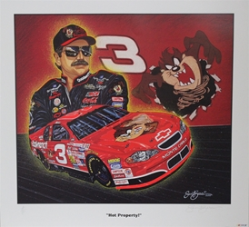 "Autographed Dale Earnhardt 2000 ""Hot Property!"" Numbered  Sam Bass 27"" X 29"" Print w/ COA Sam Bass, Intimidator, Earnhardt Sr., 1987, Monster Energy Cup Series, Winston Cup,Poster, The Count of Monte Carlo, Chanpion, Ralph"
