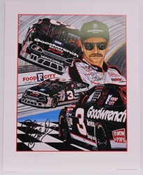 "Autographed Dale Earnhardt ""Back in Black"" Original 1995 Sam Bass 27"" X 21"" Print w/ COA Sam Bass, Intimidator, Earnhardt Sr., 1987, Monster Energy Cup Series, Winston Cup,Poster, The Count of Monte Carlo, Chanpion, Ralph"