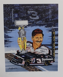 "Autographed Dale Earnhardt ""Black Cloud, Silver Lining"" Numbered Sam Bass 28"" X 22"" Print w/ COA Sam Bass, Dale Earnhardt, Brickyard, Monster Energy Cup Series, Winston Cup, Poster"