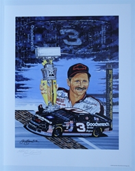 "Autographed Dale Earnhardt ""Black Cloud, Silver Lining"" Original Sam Bass 28"" X 22"" Print w/ COA Sam Bass, Dale Earnhardt, Brickyard, Monster Energy Cup Series, Winston Cup, Poster"
