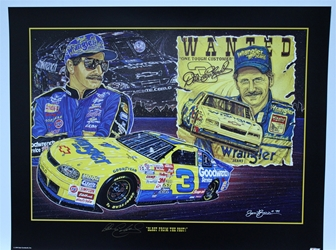 "Autographed Dale Earnhardt ""Blast from the Past"" Original Sam Bass 24"" X 31"" Print w/ COA Sam Bass, Dale Earnhardt, 1999 Winston Cup Champion, Monster Energy Cup Series, Winston Cup, Poster"