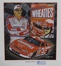 "Autographed Dale Earnhardt ""Champions Choice"" Original 1996 Sam Bass 27"" X 24"" Print w/ COA and Blue #3 Diecast Stamp Sam Bass, Intimidator, Earnhardt Sr., 1987, Monster Energy Cup Series, Winston Cup,Poster, The Count of Monte Carlo, Chanpion, Ralph"