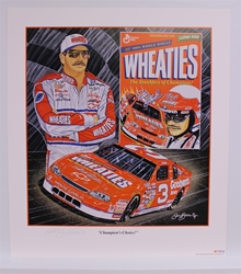 "Autographed Dale Earnhardt ""Champions Choice"" Original 1996 Sam Bass 27"" X 24"" Print w/ COA Sam Bass, Intimidator, Earnhardt Sr., 1987, Monster Energy Cup Series, Winston Cup,Poster, The Count of Monte Carlo, Chanpion, Ralph"