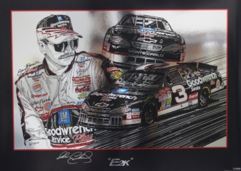 "Autographed Dale Earnhardt ""E2K"" Original 2000 Sam Bass 21"" X 29"" Print w/ COA Sam Bass, Intimidator, Earnhardt Sr., 1987, Monster Energy Cup Series, Winston Cup,Poster, The Count of Monte Carlo, Chanpion, Ralph"