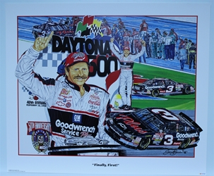 "Autographed Dale Earnhardt ""Finally, First"" Original Sam Bass 27"" X 32"" Print w/ COA Sam Bass, Dale Earnhardt, 1998 Winston Cup Champion, Monster Energy Cup Series, Winston Cup, Poster"