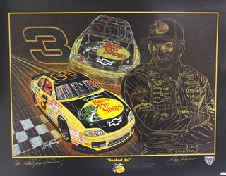 "Autographed Dale Earnhardt ""Hooked Up"" Numbered 1998 Sam Bass 23"" X 30"" Print w/ COA Sam Bass, Intimidator, Earnhardt Sr., 1987, Monster Energy Cup Series, Winston Cup,Poster, The Count of Monte Carlo, Chanpion, Ralph"