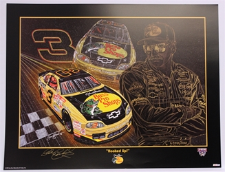 "Autographed Dale Earnhardt ""Hooked Up"" Original 1998 Sam Bass 23"" X 30"" Print w/ COA Sam Bass, Intimidator, Earnhardt Sr., 1987, Monster Energy Cup Series, Winston Cup,Poster, The Count of Monte Carlo, Chanpion, Ralph"