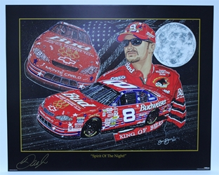 "Autographed Dale Earnhardt Jr ""Spirit of the Night"" Signed in Gold Original Sam Bass 25"" X 31"" Print W/COA Sam Bass, Dale Earnhardt Jr, Budweiser, Monster Energy Cup Series, Winston Cup, Poster"