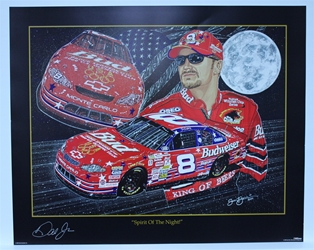 "Autographed Dale Earnhardt Jr ""Spirit of the Night"" Signed in Silver Original Sam Bass 25"" X 31"" Print w/ COA Sam Bass, Dale Earnhardt Jr, Budweiser, Monster Energy Cup Series, Winston Cup, Poster"