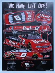 "Autographed Dale Earnhardt Jr ""We Have Liftoff"" Original Sam Bass 28"" X 21"" Print w/ COA Sam Bass, Dale Earnhardt Jr, Budweiser, Monster Energy Cup Series, Winston Cup, Poster"