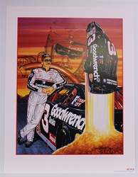 "Autographed Dale Earnhardt ""Man on a Mission"" Original 1997 Sam Bass 27"" x 21"" Print w/ COA Sam Bass, Intimidator, Earnhardt Sr., 1987, Monster Energy Cup Series, Winston Cup,Poster, The Count of Monte Carlo, Chanpion, Ralph"