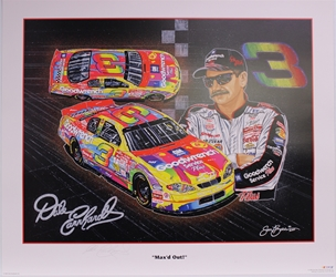 "Autographed Dale Earnhardt ""Maxed Out"" Original 2000 Sam Bass 27"" X 32"" Print w/ COA Sam Bass, Intimidator, Earnhardt Sr., 1987, Monster Energy Cup Series, Winston Cup,Poster, The Count of Monte Carlo, Chanpion, Ralph"