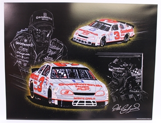"Autographed Dale Earnhardt ""Quicksilver"" Original 1995 Sam Bass 32"" X 25"" Print w/ COA Sam Bass, Intimidator, Earnhardt Sr., 1987, Monster Energy Cup Series, Winston Cup,Poster, The Count of Monte Carlo, Chanpion, Ralph"