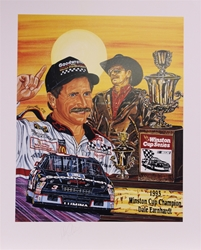 "Autographed Dale Earnhardt ""Six Shooter"" Original Sam Bass 27"" X 23"" Print With COA Sam Bass, Intimidator, Earnhardt Sr., 1987, Monster Energy Cup Series, Winston Cup,Poster, The Count of Monte Carlo, Chanpion, Ralph"
