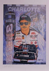 "Autographed Dale Earnhardt ""The Thunder Rolls"" Original Sam Bass 30"" X 22"" Print Sam Bass, Intimidator, Earnhardt Sr., 1987, Monster Energy Cup Series, Winston Cup,Poster, The Count of Monte Carlo, Chanpion, Ralph"