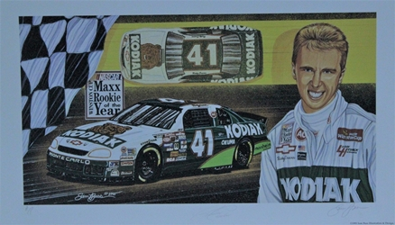 "Autographed Ricky Craven 1995 ""Maxx Rookie Of The Year "" Original Artist Proof Sam Bass 16"" X 27"" Print w/ COA Sam Bass, Ricky Craven, Darlington, Monster Energy Cup Series, Winston Cup, Poster"