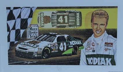 "Autographed Ricky Craven 1995 ""Maxx Rookie Of The Year "" Original Numbered Sam Bass 16"" X 27"" Print w/ COA Sam Bass, Ricky Craven, Darlington, Monster Energy Cup Series, Winston Cup, Poster"