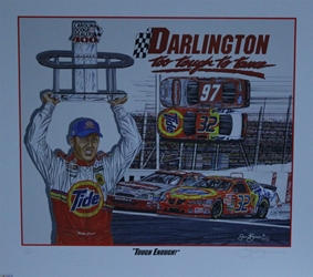 "Autographed Ricky Craven ""Tough Enough"" Original Artist Proof Sam Bass 25"" X 28"" Print w/ COA Sam Bass, Ricky Craven, Darlington, Monster Energy Cup Series, Winston Cup, Poster"