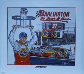 "Autographed Ricky Craven ""Tough Enough"" Original Sam Bass 25"" X 28"" Print w/ COA Sam Bass, Ricky Craven, Darlington, Monster Energy Cup Series, Winston Cup, Poster"