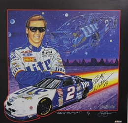 "Autographed Rusty Wallace 1997  "" Lite Up The Night "" Artist Proof Sam Bass Print 26"" X 25"" w/ COA Autographed Rusty Wallace 1997  "" Lite Up The Night "" Artist Proof Sam Bass Print 26"" X 25"" w/ COA"