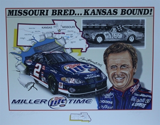 "Autographed Rusty Wallace 2003 ""Missouri Bred...Kansas Bound!"" Original Numbered Sam Bass Print 28"" X 22"" w/ COA Autographed Rusty Wallace 2003 ""Missouri Bred...Kansas Bound!"" Original Numbered Sam Bass Print 28"" X 22"" w/ COA"