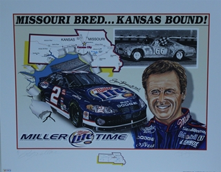 "Autographed Rusty Wallace 2003 ""Missouri Bred...Kansas Bound!"" Original Sam Bass Print 28"" X 22"" w/ COA Autographed Rusty Wallace 2003 ""Missouri Bred...Kansas Bound!"" Original Sam Bass Print 28"" X 22"" w/ COA"