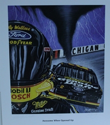 "Autographed Rusty Wallace ""Awesome When Opened Up!"" Original  Sam Bass Print 26"" X 23"" w/ COA Autographed Rusty Wallace ""Awesome When Opened Up!"" Original  Sam Bass Print 26"" X 23"" w/ COA"