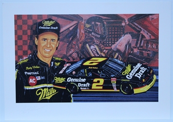 "Autographed Rusty Wallace ""Boss"" Original Sam Bass 20"" X 29"" Print w/ COA Sam Bass, Rusty Wallace, Miller Genuine Draft, Monster Energy Cup Series, Winston Cup, Poster"