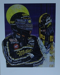"Autographed Rusty Wallace "" Rocket Man "" Original Sam Bass Print 21"" X 27"" w/COA Autographed Rusty Wallace "" Rocket Man "" Original Sam Bass Print 21"" X 27"" w/COA"