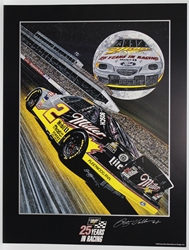 "Autographed Rusty Wallace ""Silvermoon"" Original Sam Bass 28"" X 21"" Print w/ COA Sam Bass, Rusty Wallace, Miller Lite, Monster Energy Cup Series, Winston Cup, Poster"