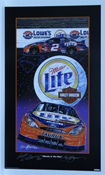 "Autographed Rusty Wallace ""Wheels in the Sky"" Numbered Original Sam Bass 29"" X 17"" Print Sam Bass, Rusty Wallace, Miller Lite, Harley Davidson, Monster Energy Cup Series, Winston Cup, Poster"