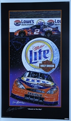 "Autographed Rusty Wallace ""Wheels in the Sky"" Original Sam Bass 29"" X 17"" Print w/ COA Sam Bass, Rusty Wallace, Miller Lite, Harley Davidson, Monster Energy Cup Series, Winston Cup, Poster"