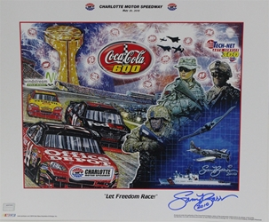 "Autographed by Sam Bass Charlotte Motor Speedway 2010 Coca Cola 600 ""Let Freedom Race!"" Sam Bass Poster 18"" X 21.5"" Sam Bas Poster,Autographed by Sam Bass Charlotte Motor Speedway 2010 Coca Cola 600 ""Let Freedom Race!"" Sam Bass Poster 18"" X 21.5"""