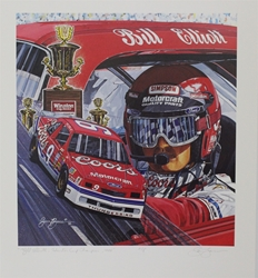 "Bill Elliott ""1988 Winston Cup Champion"" 19"" X 22"" Artist Proof Sam Bass Print 21.5"" x 19"" Sam Bass, Million Dollar Bill, Elliott, 1988, Monster Energy Cup Series, Winston Cup,Poster, Awesome Bill, Chanpionship"