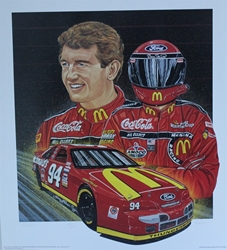 "Bill Elliott 1995 ""Red Hot"" Numbered Sam Bass Print 27.5"" X 24.5 Bill Elliott 1995 ""Red Hot"" Numbered Sam Bass Print 27.5"" X 24.5"