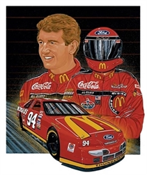 "Bill Elliott 1995 ""Red Hot"" Sam Bass Poster 27.5"" X 25"" Sam Bas Poster"