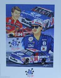 "Bill Elliott And Ron Barfield New Holland Racing Original Sam Bass 27""X 20"" Print 1997 Bill Elliott And Ron Barfield New Holland Racing Original Sam Bass 22""X 27"" Print"