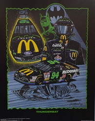 "Bill Elliott ""Thunderbat"" Sam Bass 29""X 21"" Print Sam Bass, Bill Elliott, Thunderbat, Monster Energy Cup Series, Winston Cup, Print,  Bill Elliott ""Thunderbat"" Numbered Sam Bass 29""X 21"" Print"