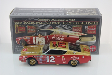 Bobby Allison Autographed #12 Coca-Cola 1969 Mercury Cyclone 1:24 University of Racing Nascar Diecast Bobby Allison Autographed #12 Coca-Cola 1969 Mercury Cyclone 1:24 University of Racing Nascar Diecast