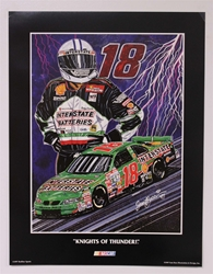 "Bobby Labonte ""Knights of Thunder"" 17"" X 23"" Original 1997 Sam Bass Poster Sam Bass, Bobby Labonte, 1997, Monster Energy Cup Series, Winston Cup,Poster,"