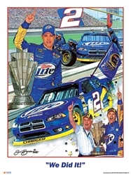 "Brad Keselowski  2012 ""We Did It!"" Sam Bass Poster 24"" X 18"" Sam Bas Poster"