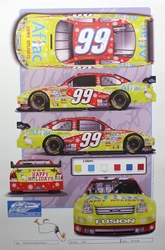 "Carl Edwards 2008 Aflac Holiday Diecast Design Template Sam Bass Print 18"" X 12 Carl Edwards 2008 Aflac Holiday Diecast Design Template Sam Bass Print 18"" X 12"