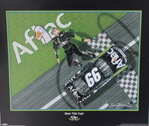 "Carl Edwards Aflac "" Over The Top""  2006 Sam Bass Poster 21"" X 25"" Carl Edwards Aflec "" Over The Top""  2006 Sam Bass Poster 21"" X 25"""