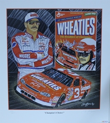 "Dale Earnhardt "" Champions Choice"" in White Original Numbered Sam Bass Print 27"" X 24"" Dale Earnhardt "" Champions Choice In White "" Original Numbered Sam Bass Print 27"" X 24"""